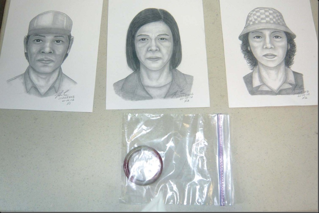 At a Taravel police station press conference investigators release scetches of 3 suspects and display a bracelet used in a scam bilking tens of thousands of dollars from unsuspecting victims