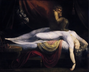 """A painting from 1781 by John Fuseli titled """"The Nightmare,"""" which depicted the feelings brought on by Sleep Paralysis"""